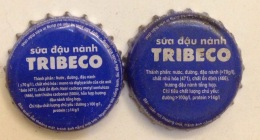 2 Different Vietnam Viet Nam TRIBECO Soya Bean Used Crown Caps / Kronkorken / Capsule / Chapa / Tappi - Soda