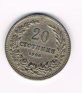 )  BULGARIJE  20  STOTINKI  1906 - Bulgarie