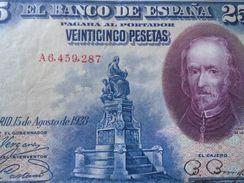 DEL001.9 ESPAÑA // SPAIN - 25 PESETAS ( 1928 ) - VF+ - SERIE A-  PICK 74a - [ 1] …-1931 : Eerste Biljeten (Banco De España)