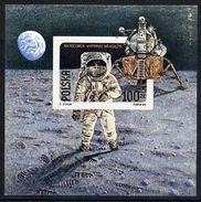 POLAND 1989 Moon Landing Anniversary Imperforate Block MNH / **.  Michel Block 109B - Blocks & Sheetlets & Panes