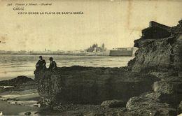 CADIZ. VISTA DESDE LA PLAYA DE SANTA MARÍA. 398. HAUSER Y MENET - Cádiz