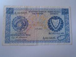 DEL001.13  Cyprus 250 Mils 1981 In (F) Condition Banknote P-41c - Chipre