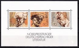 Bloc Feuillet Neuf** De 3 T.-P.  Lauréats Du Prix Nobel De Littérature De Langue Allemande - N° BF 15 (Yvert) - RFA 1978 - [7] Federal Republic