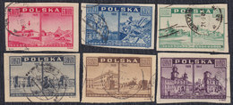 Poland 1945/6 Different Views Before And After The Destruction, Used (o) Michel 414-419 - 1944-.... República