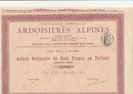 ACTION 100 FRANCS - COMPAGNIE GENERALE DES ARDOISIERES ALPINES - ANNEE 1909 - Mines