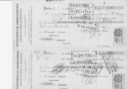 2 LETTRES DE CHANGE -FAYENCERIES DE SARREGUEMINES -DIGOIN -VITRY LE FRANCOIS -  ANNEE 1934 - Cambiali