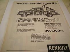 ANCIENNE PUBLICITE  4 CV DE RENAULT 1957 - Voitures