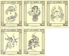 """Ex Libris (Exlibris), N. 5 Exlibris """"Nuovi Orizzonti Milano"""" Segni Zodiacali - Bookplates"""