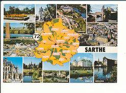 Département Sarthe Besse Sur Braye Ecommoy Saint-Calais Bonnétable Champagné ... Carte Postale Géographique CP 68/37 - Cartes Géographiques