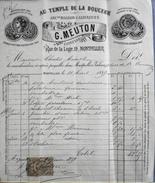 Facture De G. MEUTON Confiseur à Montpellier à Mme Charles AURIOL - Acquittée Timbrée Datée 21.06.1889 Et Signée - BE - 1800 – 1899