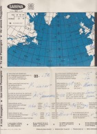 Belgium Sabena Belgian World Airline Canada Quebec Montreal Geographical Airplane Map For Flight Rare Item!!! - Geographical Maps