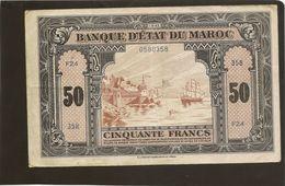 Billet Maroc Billet De 50 Francs Du 1 8 1943 Plusieurs Pli Pas De Trou Tres Beau Billet - Morocco