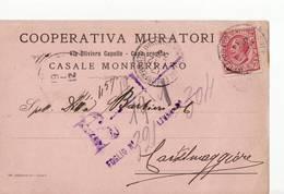 10005 ALESSANDRIA CASALE MONFERRATO COOPERATIVA MURATORI X CASTELMAGGIORE - 1900-44 Victor Emmanuel III