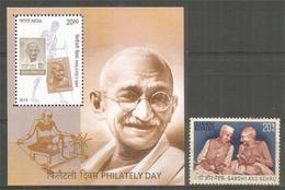Hommage Au Mahatma Gandhi & Jawaharlal Nehru. Timbre Et Bloc-feuillet Neufs ** - Mahatma Gandhi