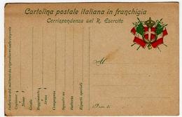 CARTOLINA POSTALE ITALIANA IN FRANCHIGIA - CORRISPONDENZA DEL R. ESERCITO - POSTA MILITARE - War 1914-18