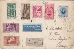 ITALIE  :  Divers Et PA Sur Recommandé Pour Paris De 1938. Divers Cachets Au Verso - Poststempel