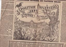 CALENDRIER 1897 FACTEUR DES POSTES BELGES Bureau De Bruxelles Format 2 X A3 Très Fragiles Usures D'usage - Grossformat : 1901-20