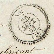 TARN ET GARONNE 47 SOS LAC TAD 22 Du 25/09/1863 GC 3442 Sur N° 22 TTB - Poststempel (Briefe)