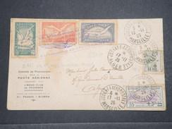 FRANCE - Enveloppe De Marseille Pour Alger En 1926 Par Avion , Affranchissement Plaisant , Vignettes , Griffe - L 9863 - Marcophilie (Lettres)