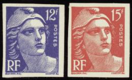 France N°812 /813 Marianne De Gandon 2 Valeurs Non Dentelées Qualité:** Cote:  50 - 1945-54 Maríanne De Gandon