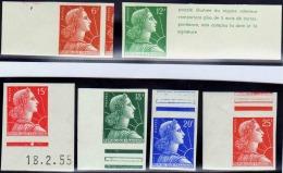 France N°1009 A/1011C M.de Muller 6 Valeurs Non Dentelées Bdf Qualité:** Cote:  660 - 1955- Maríanne De Muller