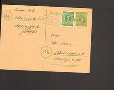 Alli.Bes. Ganzsache 5 Pfg. Ziffern P 950 Mit 5 Pfg.Ziffern Zusatzfrankatur Als Ortspostkarte In Karlsruhe V.1947 Bedarf - Gemeinschaftsausgaben