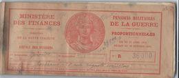 Carnet à Souches/Pensions Militaires De La Guerre/Ministère Des Finances/Proportionnelles/E BECK/1936              AEC67 - Unclassified