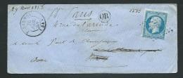 Lsc Affranchie Par Yvert N° 14 Oblitéré Pc 2462 ( Ploërmel ) En 1858 - Po50308 - 1849-1876: Période Classique