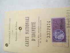 Carte Nationale D'Identité Ancienne/ RF/ Préfecture De Police/BOCCARA épouse Abéasis/1972        AEC69 - Unclassified