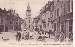 CPA (88) SAINT DIE Rue D' Alsace Et L' Eglise Saint Martin - Saint Die