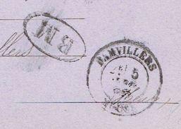 MEUSE 55 DAMVILLERS Entier 10 C Sage TAD 18 Du 05/04/1888 BM écrite à Jamet TB - Storia Postale