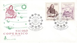 Vatikan FDC/ET 1973 Mi: 622 + 623, 500. Geburtstag Von Nikolaus Von Kopernikus - Covers & Documents