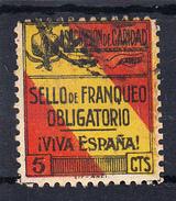ASOCIACION DE CARIDAD DE GRANADA 5 CTS.SELLO DE  FRANQUEO OBLIGATORIO. VIVA ESPAÑA USADO . CECI 2 Nº 38 - Bienfaisance