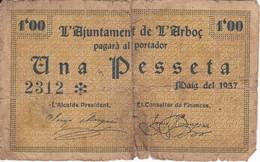 BILLETE DE 1 PESETA DEL AJUNTAMENT DE L'ARBOÇ DEL AÑO 1937     (BANKNOTE) - [ 2] 1931-1936 : República