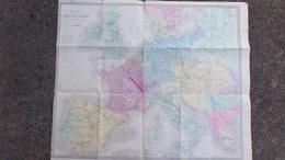 RARE AFFICHE CARTE GENERALE CHEMINS FER EUROPEENS PAR A.T. CHARTIER- GEOGRAPHIE GOBERT -LACOSTE-MIGEON- KOLLMANN - Affiches