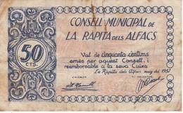 BILLETE DE 50 CENTIMOS DEL CONSELL MUNICIPAL DE LA RAPITA DELS ALFACS DEL AÑO 1937    (BANKNOTE) - [ 2] 1931-1936 : República