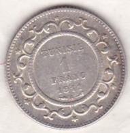 PROTECTORAT FRANCAIS.  1 FRANC 1911 (AH 1329) ,  En Argent - Tunisia