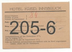 HOTEL KREID, INNSBRUCK / HOTEL CARD - Austria