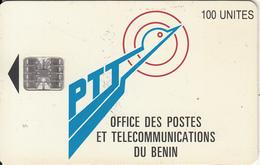 BENIN - PTT Logo 100 Units, Chip SC7, Red CN : C55150340, Used - Benin
