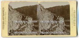 FOTOGRAFIA STEREOSCOPICA STEINBRUCH IN DER SCHLUCHT OBERBAYERN ROSENHEIM GERMANIA ANNO 1893 - Stereoscopi