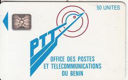 BENIN - PTT Logo, First Chip Issue 50 Units(matt Surface), Chip SC5, White CN : C3A000567, Used - Benin