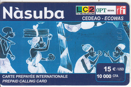 BENIN - Nasuba Prepaid Card 10000 FCFA(15 Euro), Exp.date 31/12/03, Used - Benin