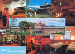 NEPAL - COLOUR PICTURE POST CARD - VIEWS OF NEW HOTEL CRYSTAL, POKHRA, SLOGAN OF 'FLY, ROYAL NEPAL AIRLINES ' - Nepal