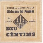 BILLETE DE 10 CENTIMOS DEL CONSELL MUNICIPAL DE VILAFRANCA DEL PENEDES DEL AÑO 1937      (BANKNOTE) - [ 2] 1931-1936 : República
