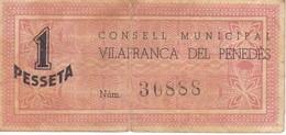 BILLETE DE 1 PESETA DEL CONSELL MUNICIPAL DE VILAFRANCA DEL PENEDES DEL AÑO 1937      (BANKNOTE) - [ 2] 1931-1936 : República