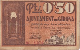 BILLETE DE 50 CENTIMOS DEL AJUNTAMENT DE GIRONA DEL AÑO 1937 (SELLO SECO)     (BANKNOTE) - [ 2] 1931-1936 : República