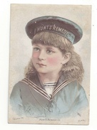 Victorian Trade Card Hunts Remedy Patent Medicine Girl In Sailor Hat Shirt EL Ramsdell Druggist Lowell MA - Trade Cards