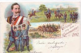 ALTE Litho- AK   GRUSS Vom KAISERMANÖVER - 1897 - / Gelaufen 1897 - Manovre