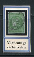 FRANCE- Y&T N°42Bd)- Vert Sauge- Cachet à Date - 1870 Emission De Bordeaux