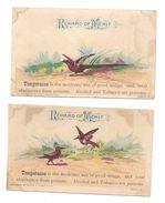 2 Victorian Reward Of Merit Cards Temperance Tobacco Alcohol Are Poisons Birds School Teachers - Schede Didattiche